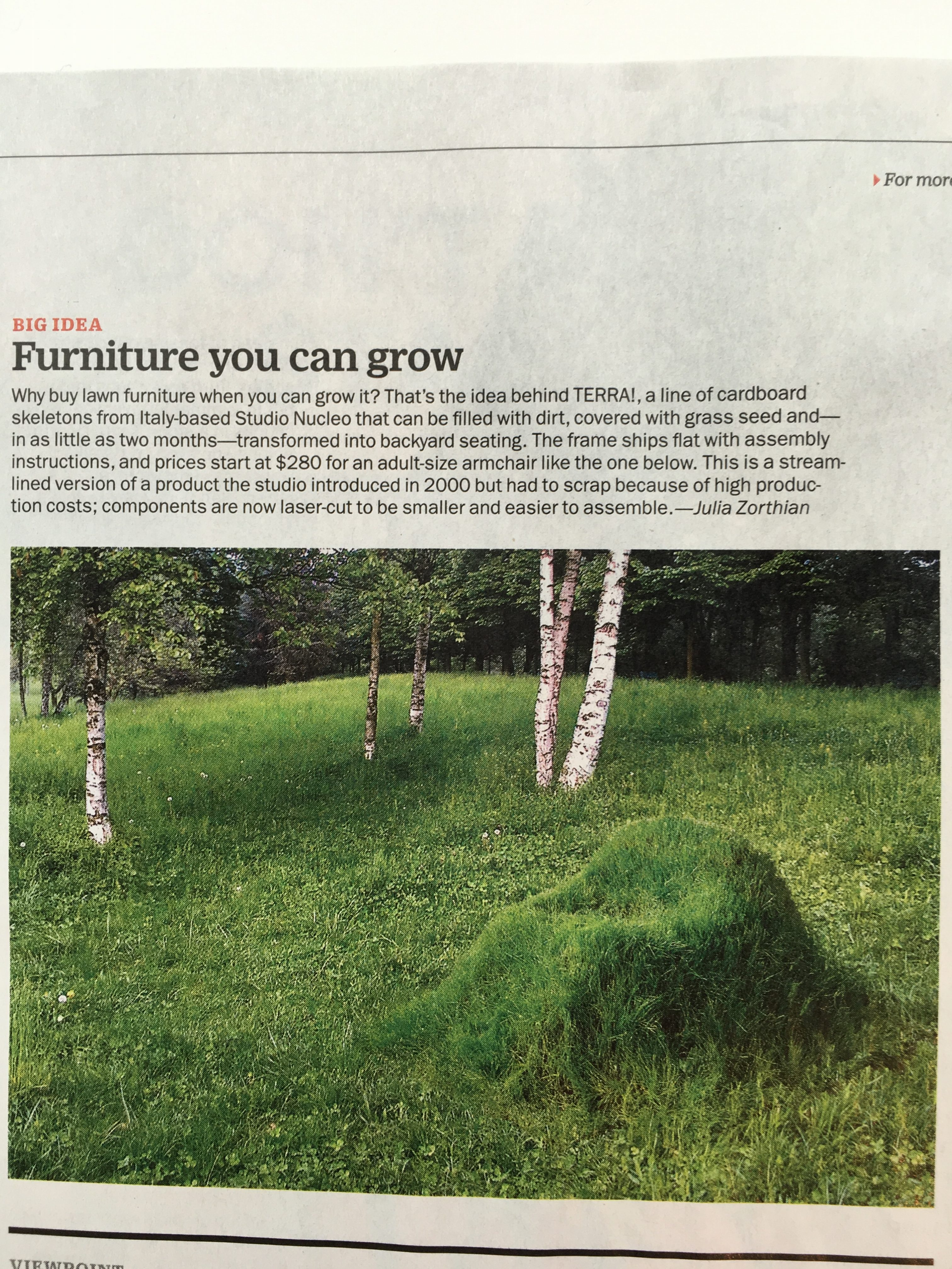 """TIME for TERRA """"Furniture you can grow"""" patriciafindlay"""